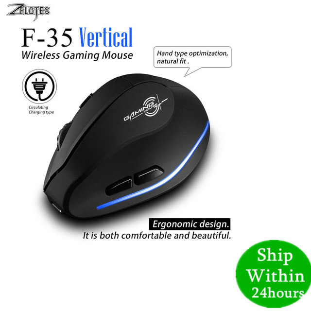 Mouse Raton Zelotes F 35 2.4GHz Vertical Wireless Rechargeable USB 2400DPI 6 Button Gaming Computer Mice  For Laptop PC