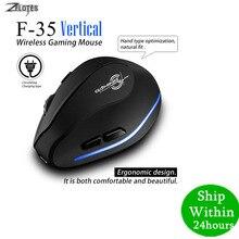 Rato raton zelotes F 35 2.4 ghz vertical sem fio recarregável usb 2400 dpi 6 botão do computador de jogos ratos para computador portátil