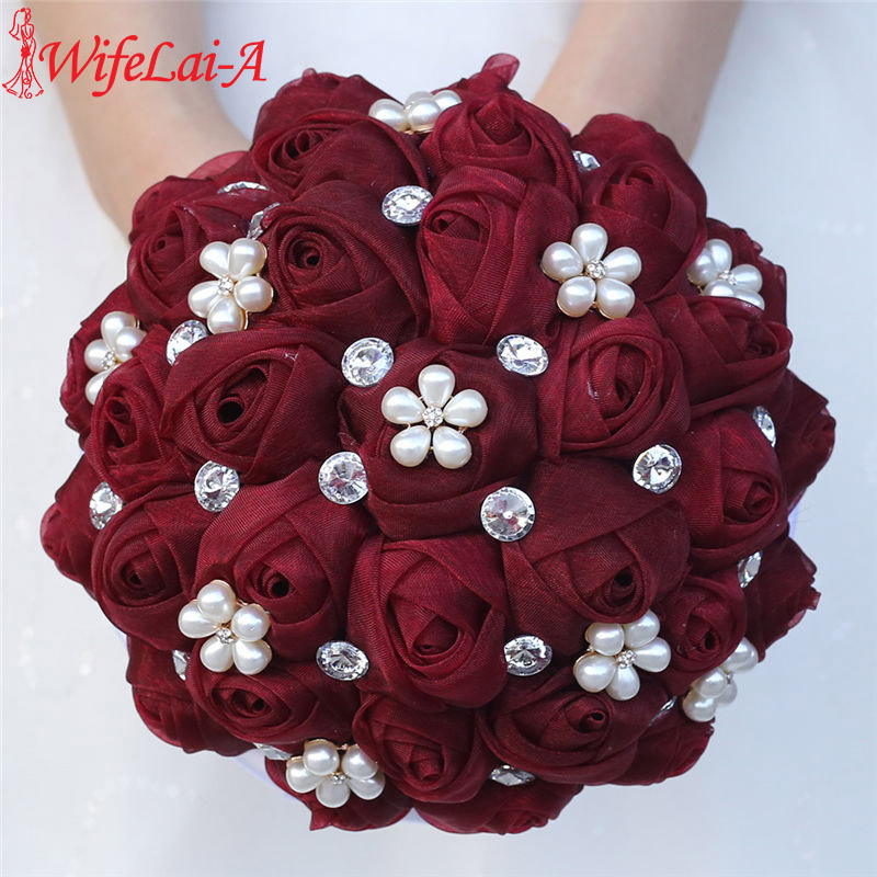 WifeLai-A 18cm Drak Red Wedding Flowers Bridal Bouquets Bridesmaid Wedding Holding Flowers Pearl Flowers Buque De Noiva W3001