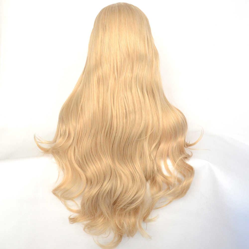 Vogue Koningin Gemengde Blonde Lange Pruiken Natuurlijke Golf Synthetische Lace Front Pruik Hittebestendige Voor Vrouwen