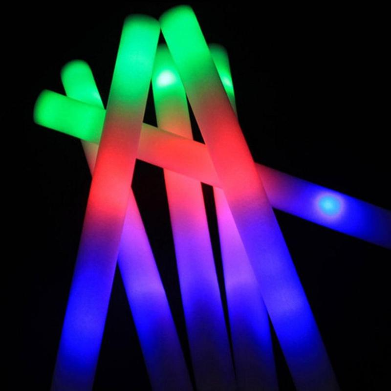 30pc Led Foam Glow Sticks Colorful Fluorescent Light Sticks For