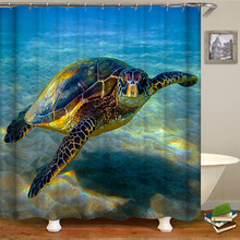 цена на Marine life animal print shower curtain polyester waterproof fabric shower curtain for home decoration