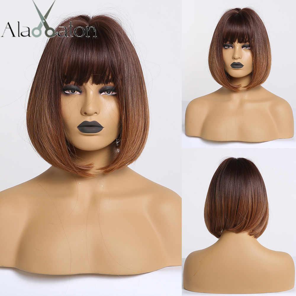 Alan Eaton Synthetisch Haar Lady Korte Golvende Pruiken Voor Vrouwen Mix Brown Blond Ash Pruiken Met Pony Kant Hoge Temperatuur fiber