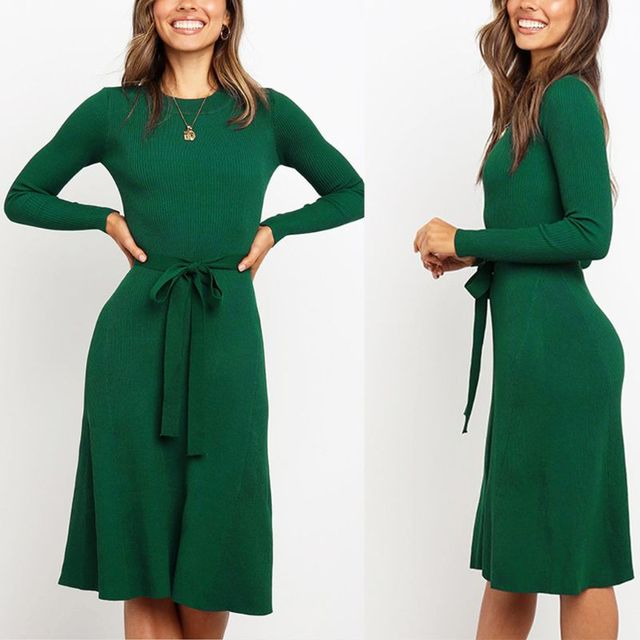 Women's Ribbed Knitted, Slim Midi Dress With Belted Waist