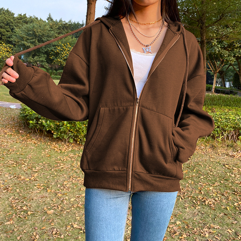 Summer 2021 Fashion Zip Up Cute Bear Sweetshirt Vintage Long Sleeve Spring Clothes Women Hoodies Coat Loose Harajuku Tops 19