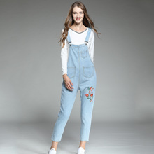 Belt pants, jeans, embroidered straps, jeans  Women Casual Jeans For Straps Plus Size Trousers Rompers
