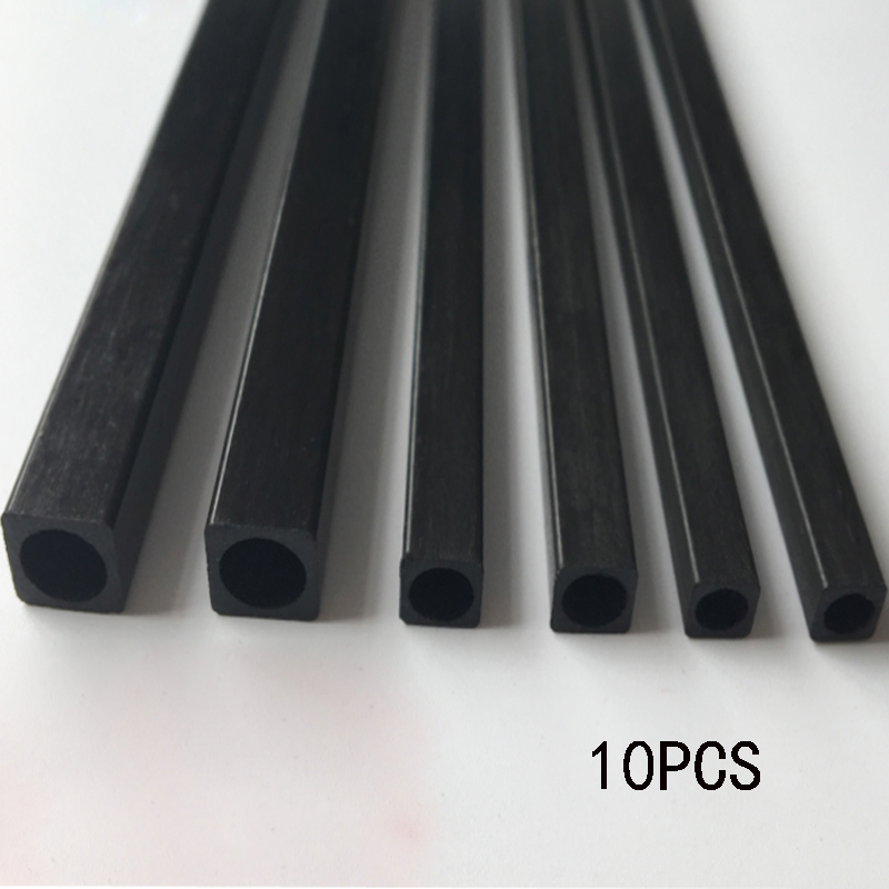 10 Pcs RC Model Accessories Carbon Fiber  Square Tube Length 500mm Multi-Size OD 2mm 2.5mm 3mm 4mm 5mm 6mm 8mm 10mm