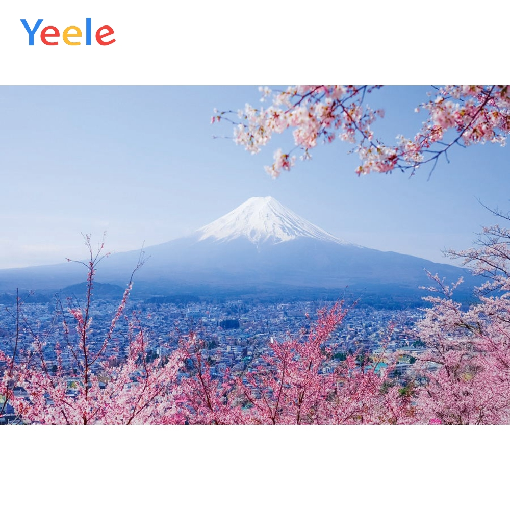 Japan Cherry Blossoms Mount Fuji Backdrop Newborn Baby Shower Kids Birthday Portrait Photography Background For Photo studio in Background from Consumer Electronics