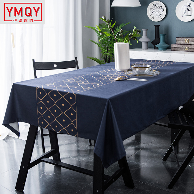 2019 Velvet gold line blue tablecloth European household soft suede table cloth rectangular digital printing coffee table cover image