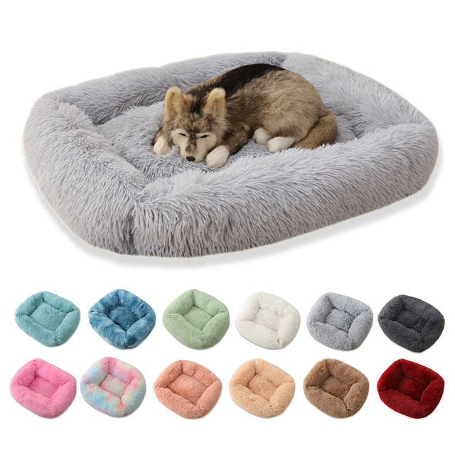 Square Pet Dog Bed Sofa Long Plush Kennel Winter Warm Soft House Puppy Mat Cat Nest Non-slip Basket Cushion for Dog Pet Supplies 1