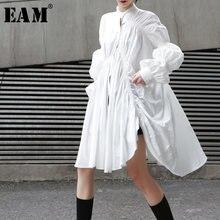 EAM – chemise blanche plissée à manches longues pour femme, nouvelle collection printemps-automne 2021, JO478