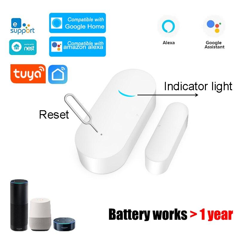 Tuya Smart WiFi датчик для двери дверь открытой/закрытый детекторы Магнитная щетка для мытья окон сенсор домашняя охранная сигнализация работа с ...