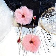цена FYUAN Crystal Asymmetry Drop Earrings for Women Bijoux Pink Yarn Flower Dangle Earrings Statement Earrings Jewelry Gifts