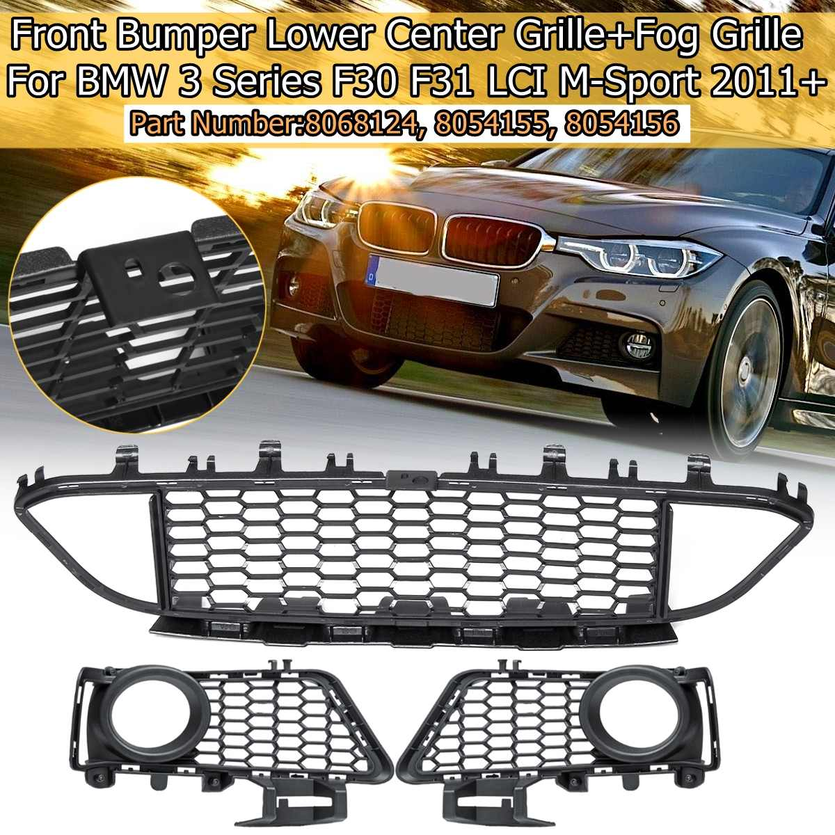 Genuine M Race Package Front Bumper Grilles Pair Fits BMW 3 Series F30 2011