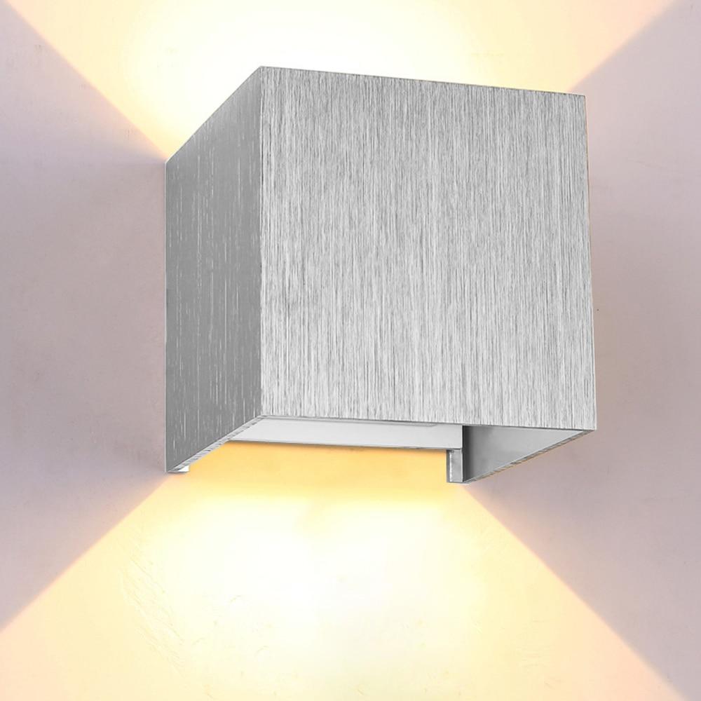 arandelas 6w quadrado wall lampada angulo de iluminacao ajustavel luz de lavagem de parede ip54 prata