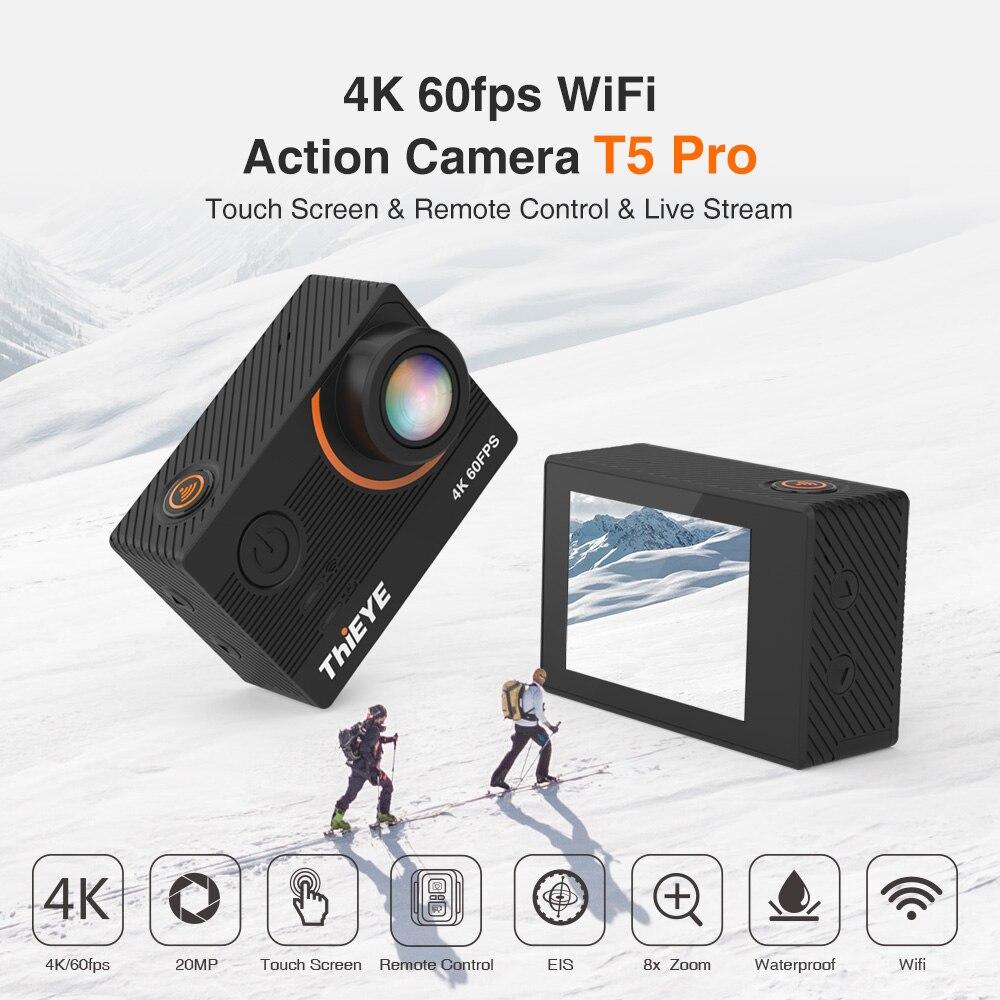 Thieye 4 Real K câmera Ultra HD T5 Pro Com Transmissão Ao Vivo Da Ação Da Câmera Estabilizador Giroscópio Controle Remoto Subaquática 60m Esporte Câmera