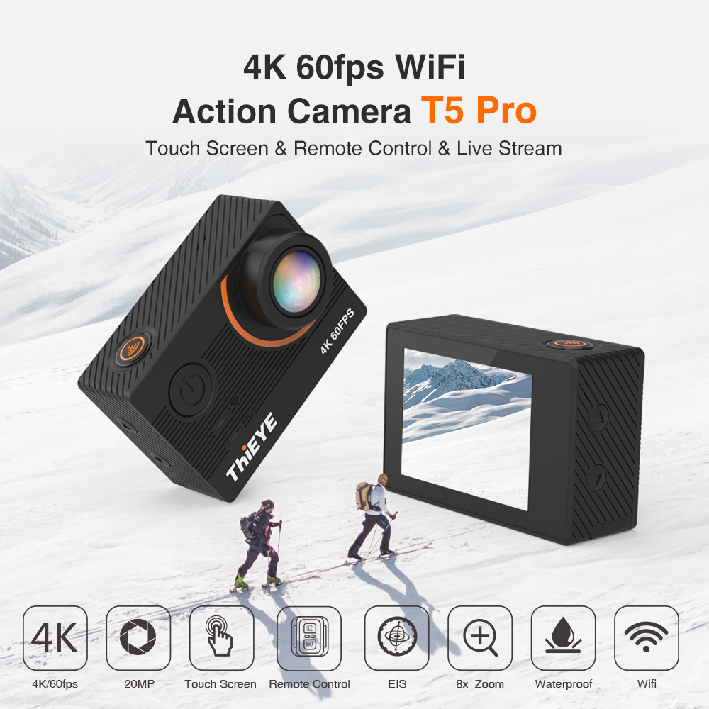 Thieye real 4 k câmera ultra hd t5 pro com transmissão ao vivo câmera de ação giroscópio estabilizador controle remoto subaquático 60m esporte câmera