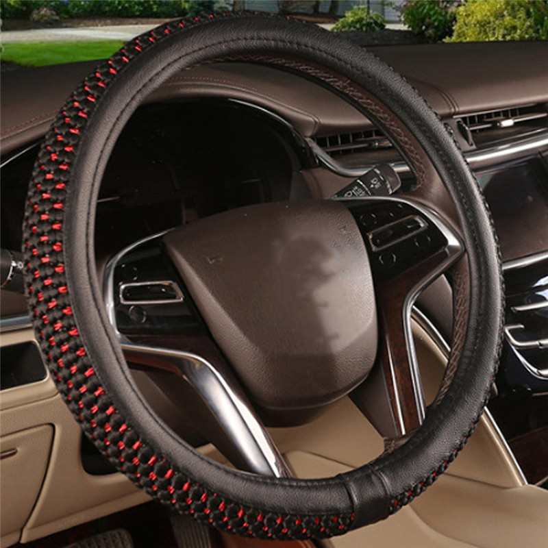 PU Leather Steering Covers DIY Car Steering Wheel Cover Soft Leather Braid Design With Needle and Thread Interior Kit