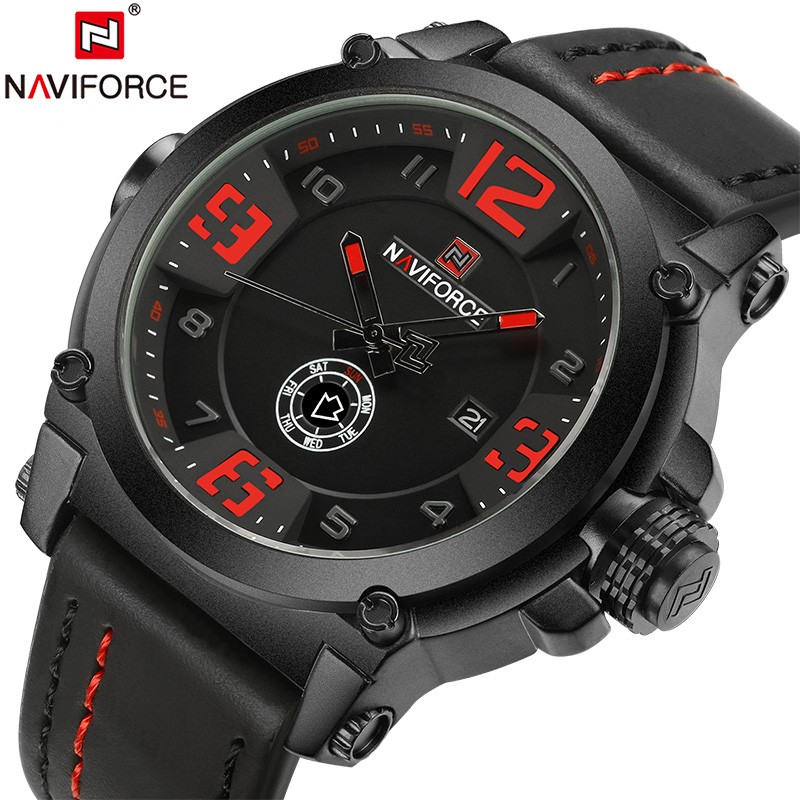 Image 5 - NAVIFORCE Sport Men Watch Leather Strap Waterproof Shockproof Best Male Watch Brands With Dates Man Watches 2019 Brand Luxury-in Quartz Watches from Watches