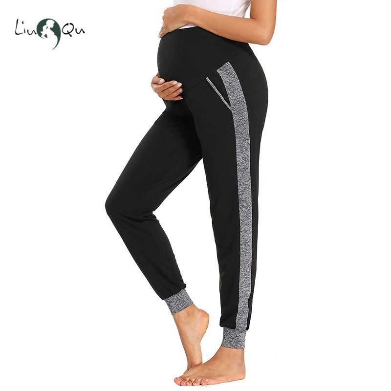 Lounge-Pants Pregnancy-Clothes Maternity-Fold with Pockets Over Comfortable Super-Soft