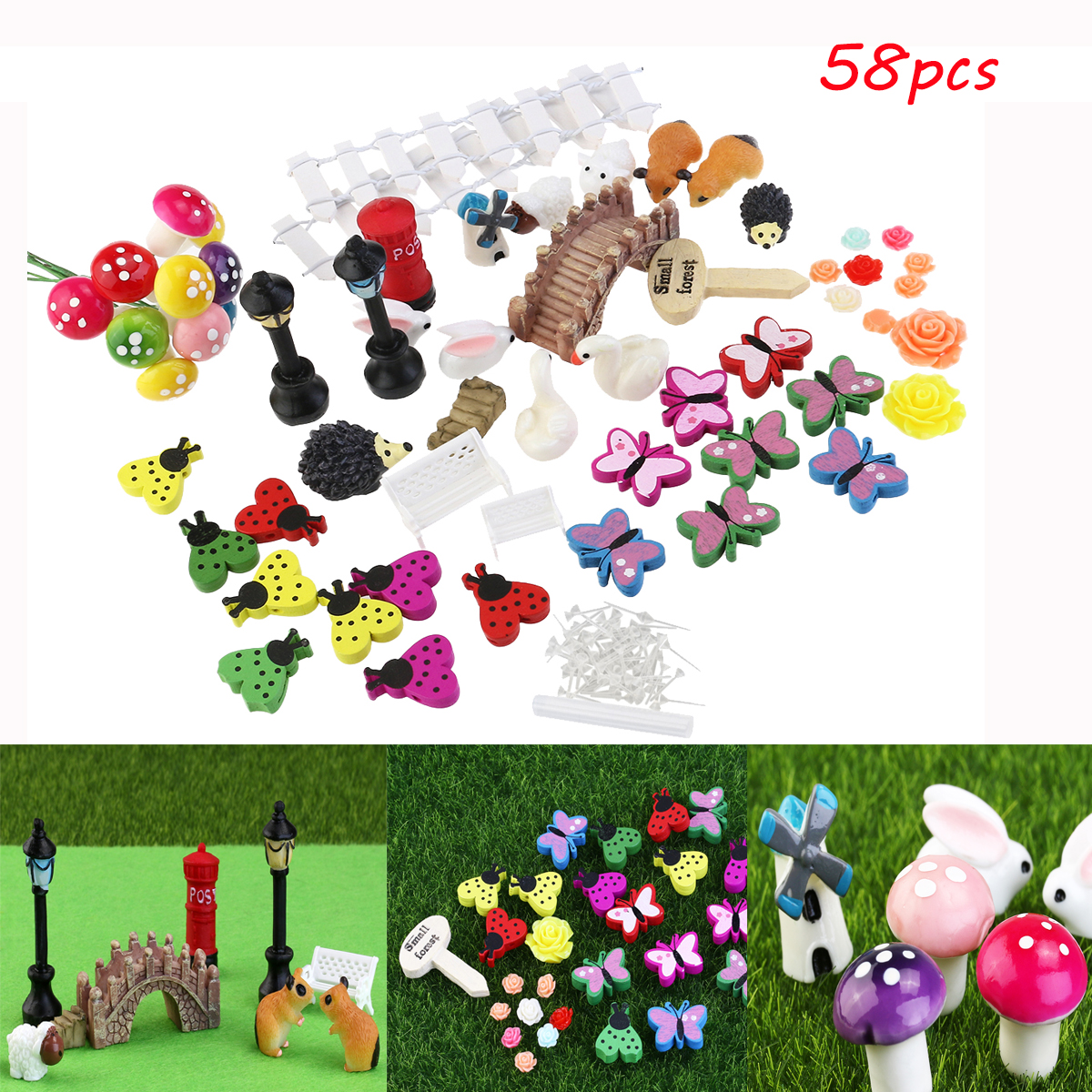 Mini 10x Mushroom Garden Ornament Miniature Plant Pots Fairy DIY Dollhouse R YJ