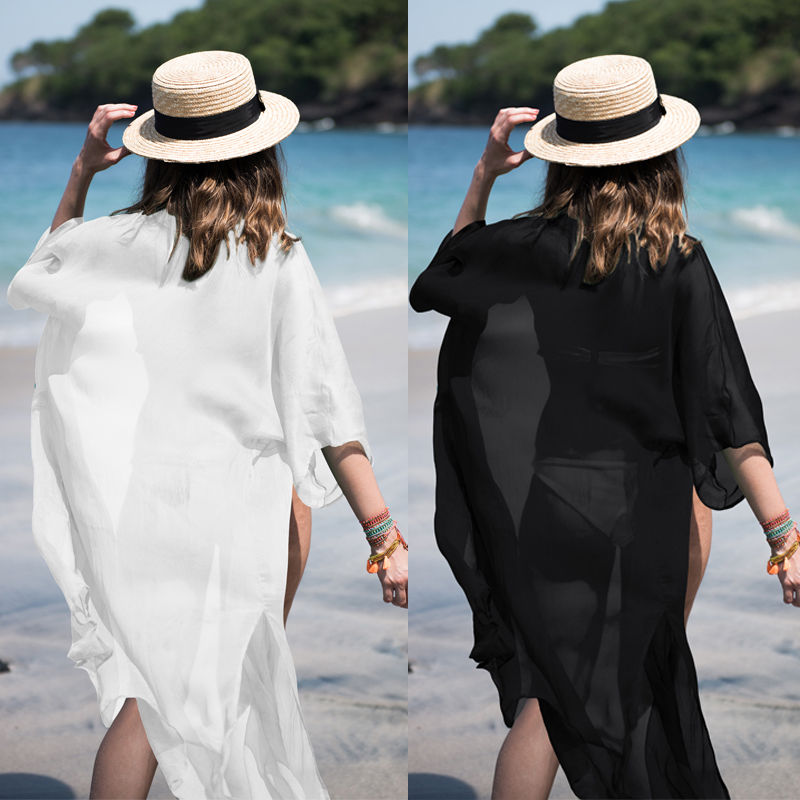 Summer Women Sexy Chiffon Beach Dress Bikini Cover Up Bathing Suit Tunics Kaftan Sarongs Robe Swimsuit