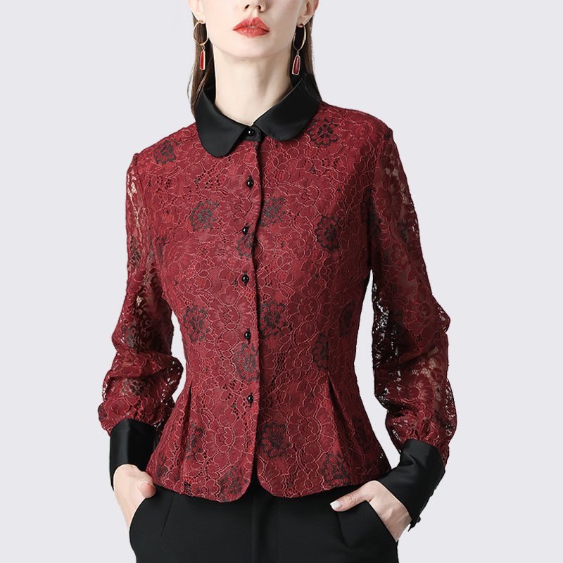 Vintage Ladies Lace Blouse High Waist Slim Hollow Out Floral Long Sleeve Mandarin Collar Single-breasted Shirt Women Winter Top