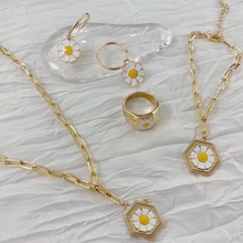 Choker Jewelry Necklace Metal Chain Flower Gold-Color Mengjiqiao-Fashion-Style Colares