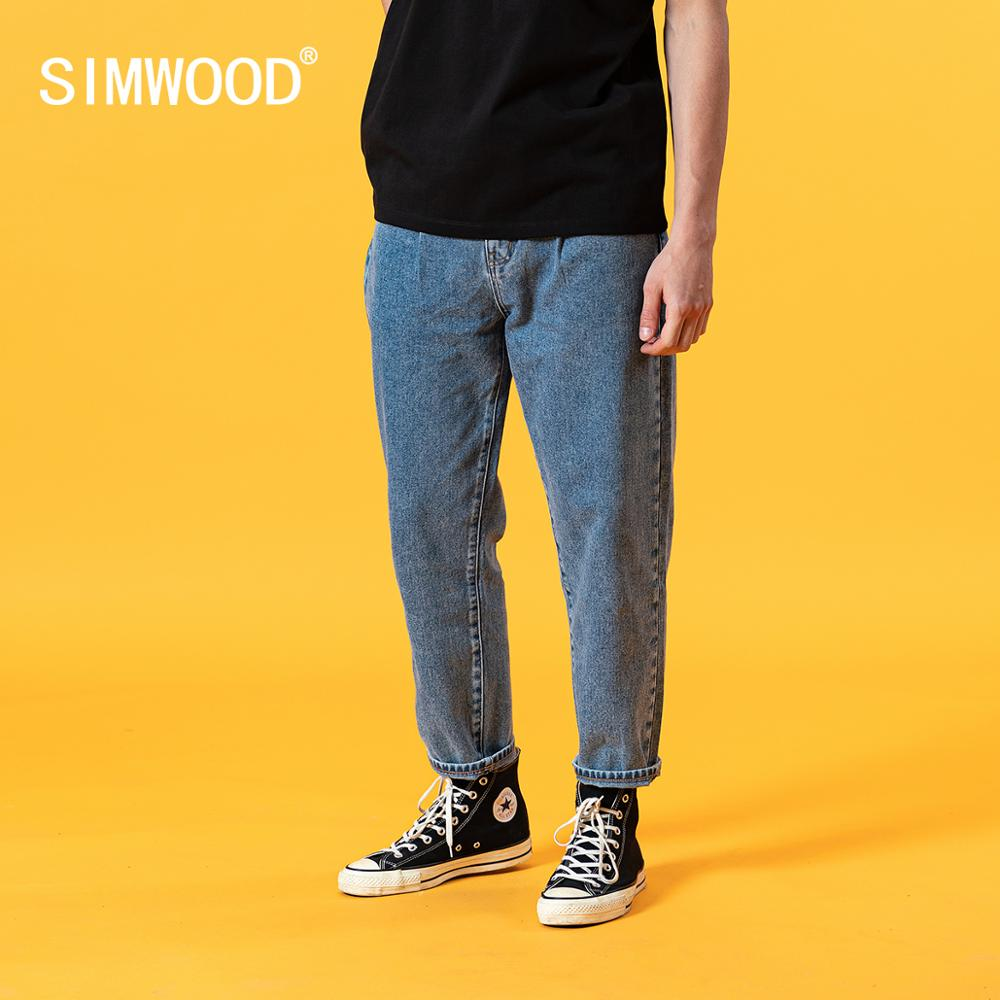 SIMWOOD 2020 summer new loose tapered jeans men classical denim trousers plus size 100% cotton ankle-length jean SJ130405