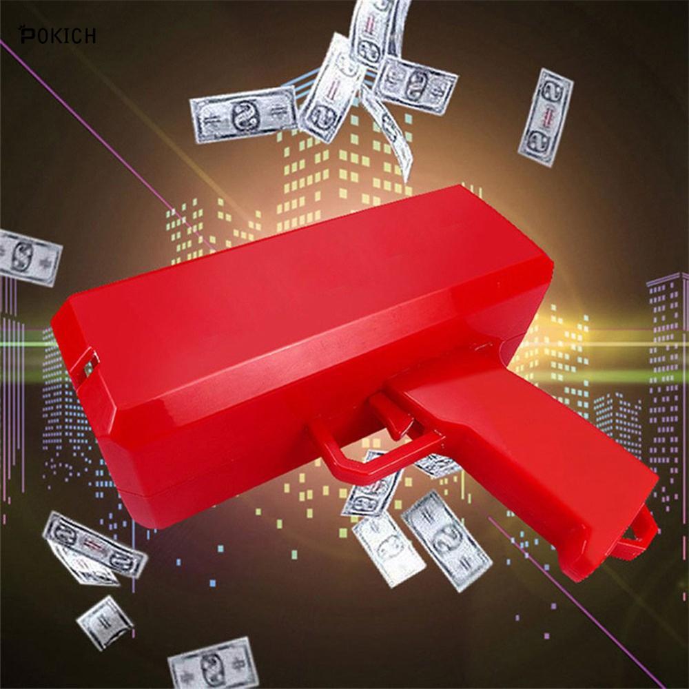 Pokich Super Cash Gun Money Toys Gun Red Pink Toy Christmas Gift Party Toys Game 100PCS Cash Fashion Money Bubble Column