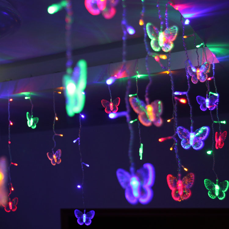 Christmas Lights Indoor Waterproof  LED Curtain Lights Butterfly LED String Lights Outdoor Christmas Party Home Decoration D35
