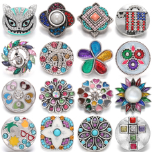 5pcs/lot Snaps Jewelry Colorful Crystal Rhinestone Flower Love 20mm 18mm Metal Snap Buttons Fit Snap Jewelry Bracelets Charms