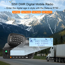 Retevis RT90 DMR Digital Mobile Radio GPS VHF UHF Transceiver Dual Band 50W Mobile Car Two Way Radio Station with Program Cable