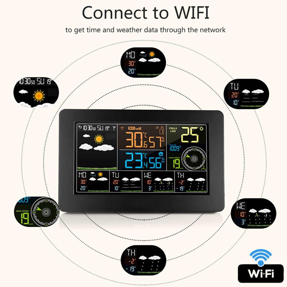 WiFi APP kontrolü akıllı hava durumu monitörü dijital saat fonksiyonları kapalı açık sıcaklık nem barometrik rüzgar hızı test cihazı