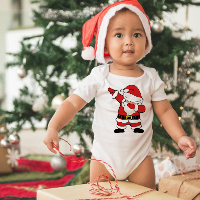 Infant Newborn Christmas Babe Ropa Baby Girls Boys Short Sleeve Dabbing Santa Graphic Print   Romper   Jumpsuit Outfit Clothes