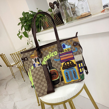 Shoulder Bags Women Bags Canvas Embroidery Handbags Totes Free Inner Bag Braccialini Style Handmade Cartoon Mexican Landscape