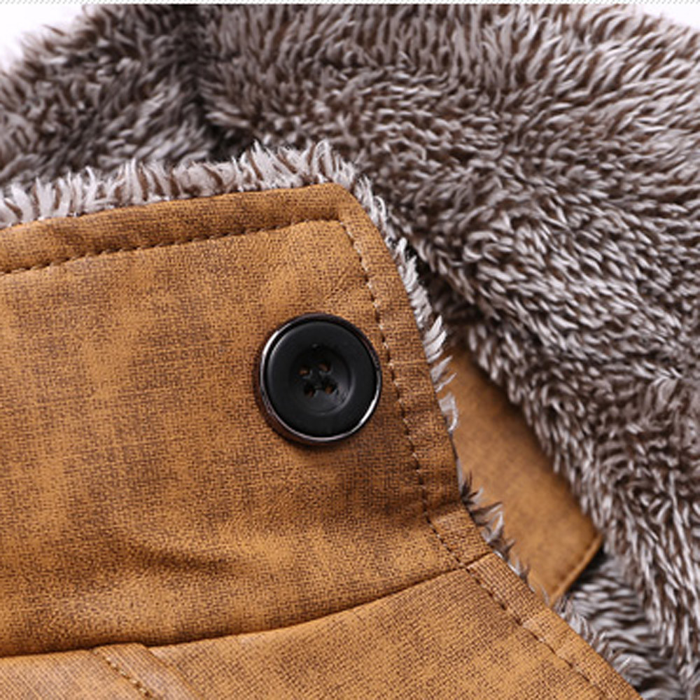 Haf183c8ceb7b490da8ea995113b28c0aB Fashion Men's Leather Jacket Top Coat Warm Autumn Winter Casual Pocket Button Thermal Outwear Jumper For Male Men