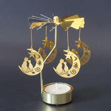 Srebrne złote świeczniki obracanie romantyczny obrót Spinning Carrousel świecznik na podgrzewacze kolacja Wedding Bar Party tanie tanio CN (pochodzenie) Home Decoration Candlesticks Świeca stojak Nowoczesne Metal STAINLESS STEEL