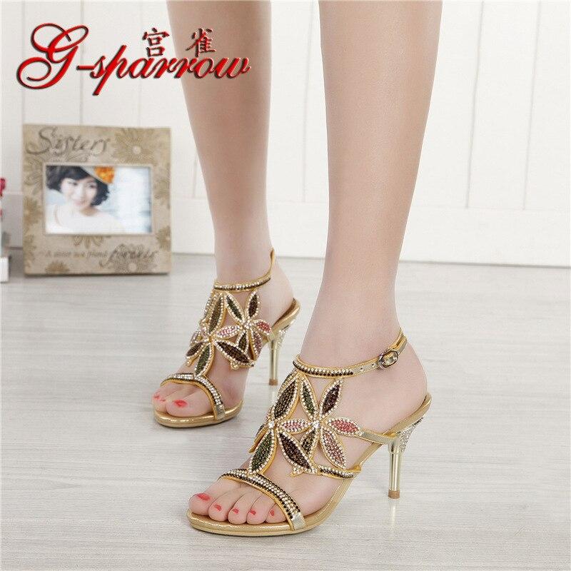 G-sparrow New Large Size Diamond Gold Crystal Wedding High Heeled Sandals Rhinestone Thick Heel Elegant Shoes1