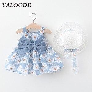 Платье для девочки с цветочным принтом, платье для девочки с бантом и шапкой, комплект из 2 предметов, детская одежда, одежда для младенцев, п...