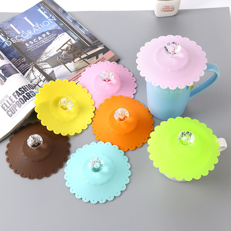 Colorful Diamond Silicone Cup Lid Cup Cover Glass Lid Tea Cup Lid Dustproof Sealed Cup Lid Creative Environmentally Friendly