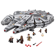лучшая цена 1381 Pcs Star Space Wars Millennium 05007 Falcon Spacecraft Building Blocks Birthday Gift Toys