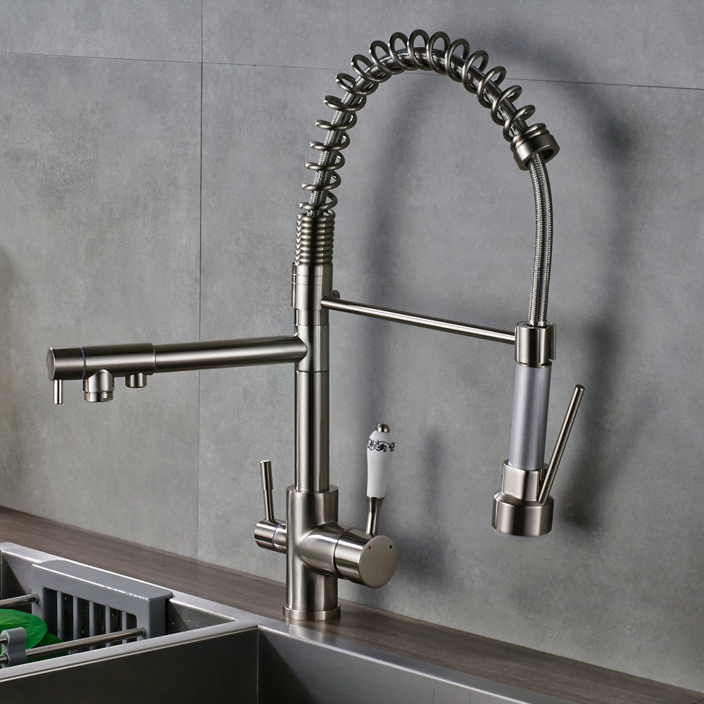 Quyanre Kitchen Faucets Torneira Para Cozinha De Parede Crane For Kitchen Water Filter Tap Three Ways Sink Mixer Kitchen Faucet