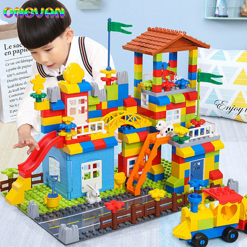House Castle Building Blocks Toys For Children Big Particle Block Race Run Slide Blocks Compatible Duploed Legoingly City Blocks image