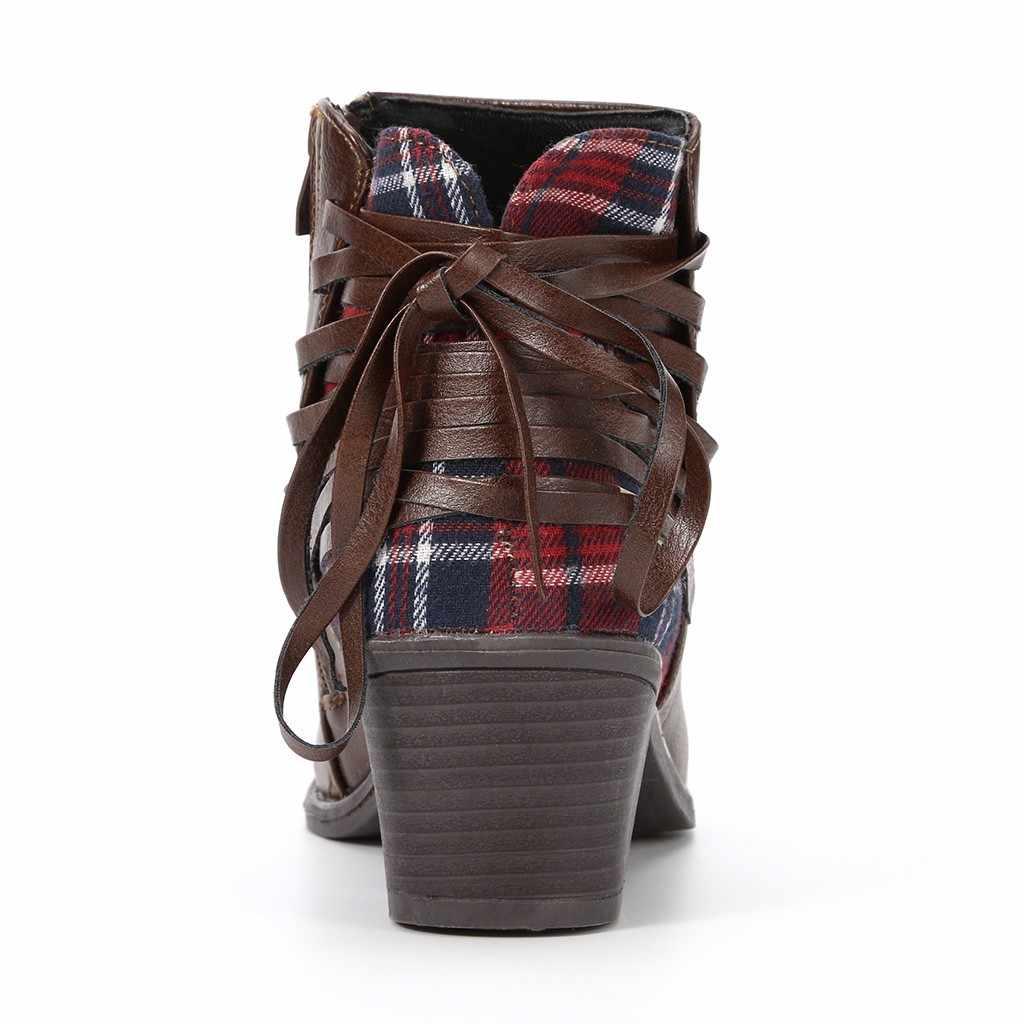 Kobiety panie botki w stylu vintage moda Plaid krzyż krawat zamek krótkie buty botki buty w stylu casual Botas Mujer Dropshipping