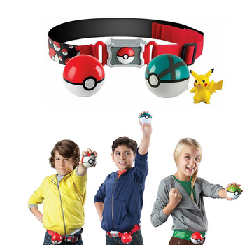 Original Pokemon toys Pokeball With Belt Action Figure Model Toys Retractable Belt Gifts for Children Kids Toys in box недорого