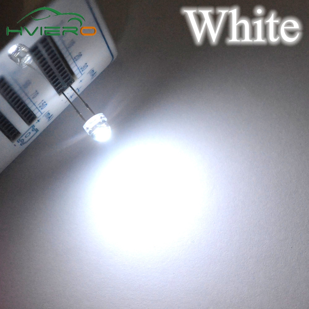 100Pcs 5mm Diode Led Straw Hat White Smd Smt Water Clear Super Bright Wide Angle Emitting Diodes Bulb 6500k 13000mcd Lamp