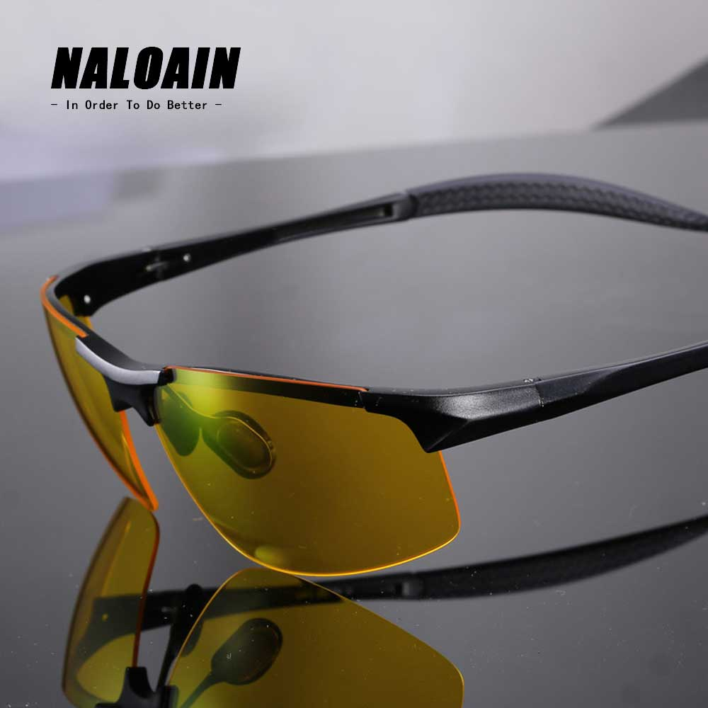 NALOAIN Night Vision Glasses Polarized Lens UV400 Driving Goggles Safety Eyewear For Men Women Drivers High Quality