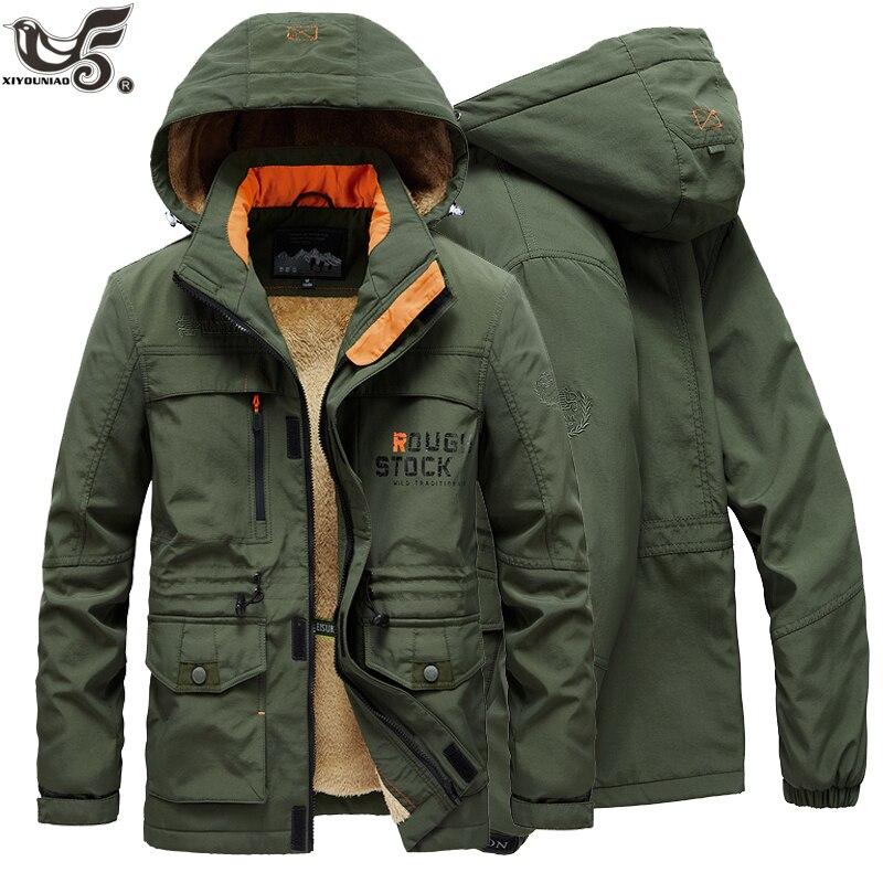 Winter Jacket Men Thick Wool Liner Warm Streetwear Army Parka Men Multi-Pocket Windbreaker Fur Hooded Cargo Bomber Jackets Coats