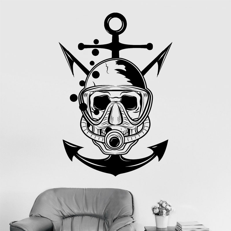 Nautical Wall Art Anchor with Scuba Diver Helmet Home Decor Ready to Paint Woodcraft Laser Cut /& Engraved Wood Wreaths Sea Life Decor